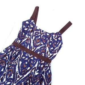 Milly Blue Brown Patterned Lined Dress